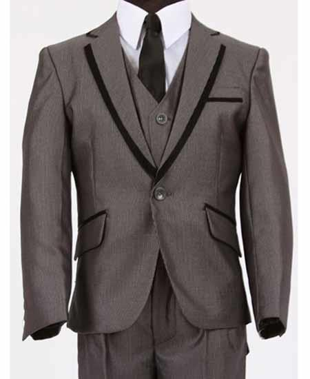 Dark Grey Mens Two Toned Trimmed Kids Sizes Vested Tuxedo Sharkskin Looking Perfect for toddler Suit wedding  attire outfits
