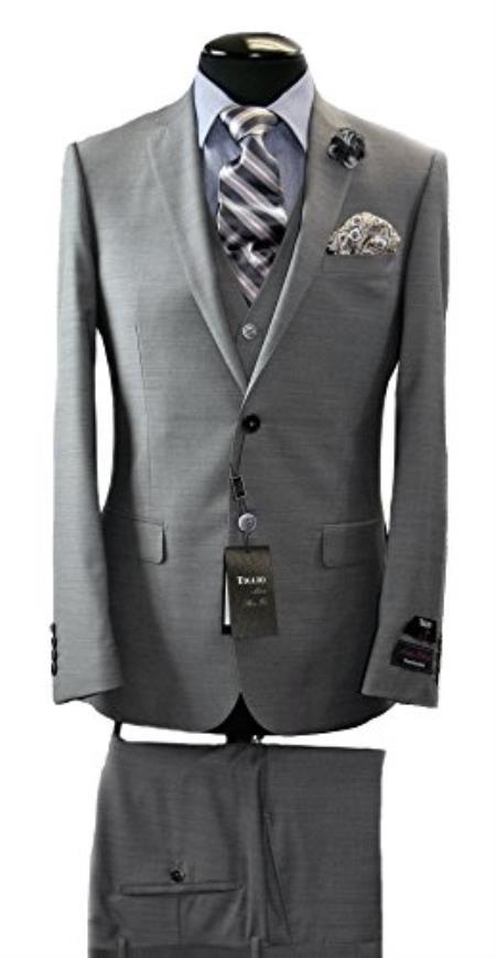 Tiglio Italian Grey Slim Fit Suit & Vest
