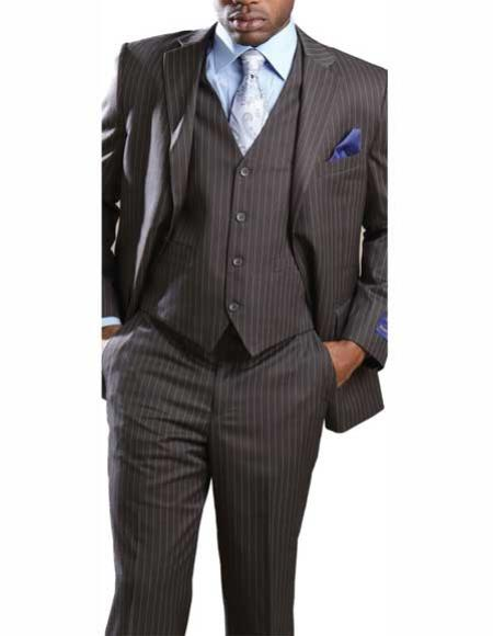 Men's 2 Button Banker Pinstripe ~ Stripe 3 Piece Grey Vested Suit