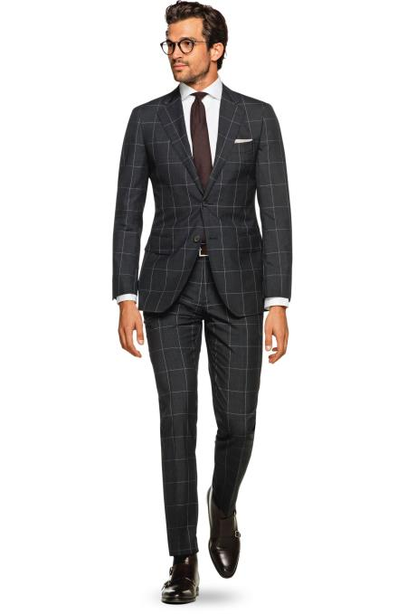 Mens Grey 2 Button Windowpane checkered check pattern Slim Fit Pure Wool Suit