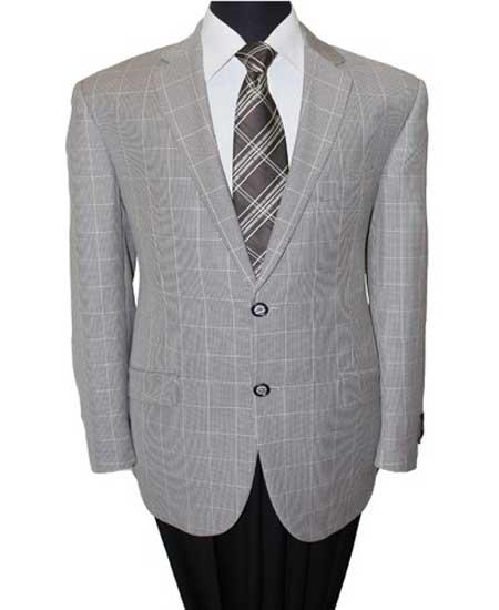 Buy SM1384 Men's 2 Button Grey Wool Notch Lapel Windowpane Single Breasted Sport Coat Blazer