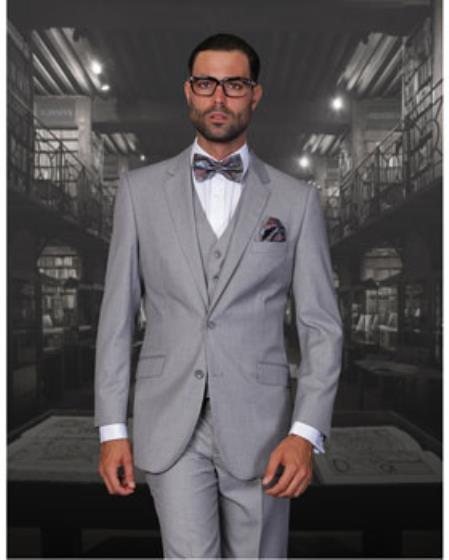Statement Confidence Men's Solid Grey 2 Button Modern Fit 3 Piece Wool Fine Brands Best Italian Style Cut Suits