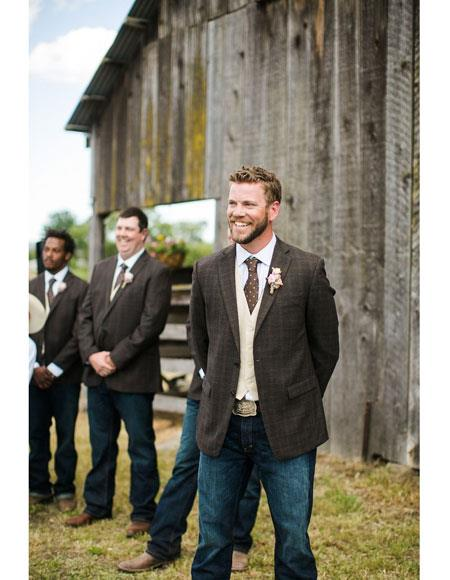 Men's casual Groomsmen Suits attire any color jacket + Pants + Vest & Tie + shirt  to Place Color Of Your Choice