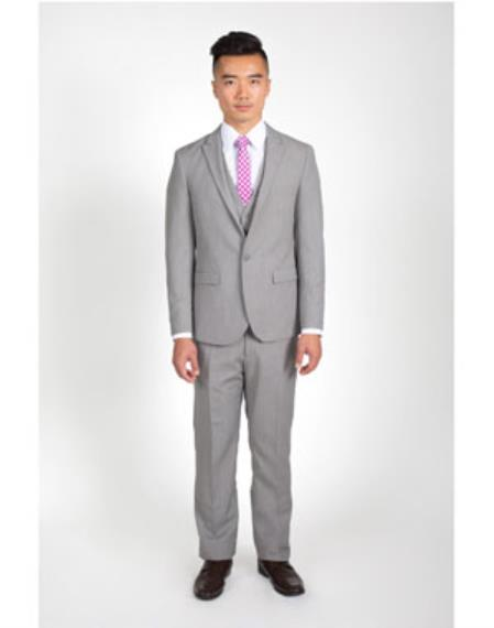 Mens 2 Button Groomsmen ~ Groom Wedding Heathered Grey Slim Fit Suit With Vest