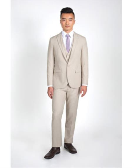 Men's 2 Button Heathered Tan Groomsmen Suits ~ Groom Wedding Slim Fit Suit With Vest