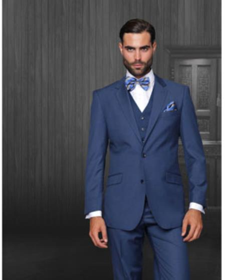 Statement Confidence Mens Indigo ~ Bright Blue 2 Button Modern Fit Wool Fine Brands Best Italian Style Cut Suits
