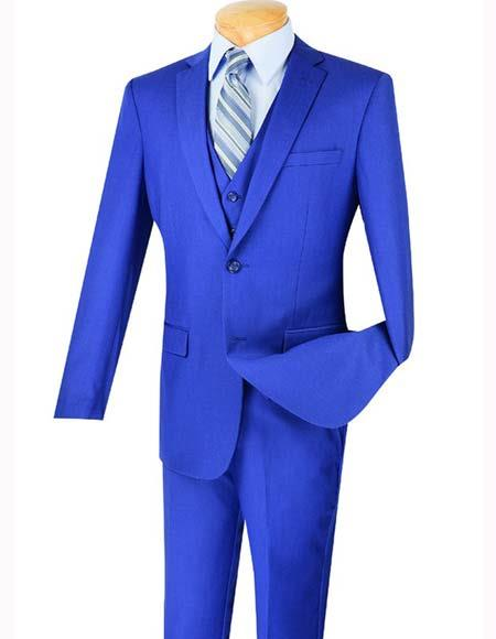 Mens Three Piece Indigo ~ Bright Blue Blue Notch Lapel Slim Fit Single Breasted 2 Button Vested Suit