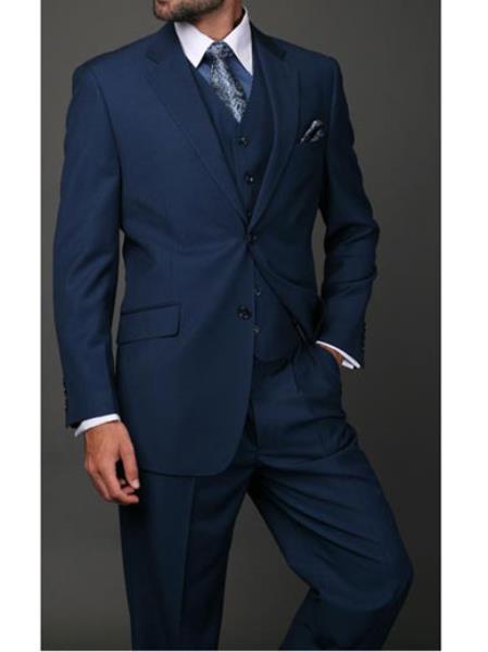 Statement Confidence Mens Indigo ~ Bright Blue 3 Piece 2 Button Italian Designer Fine Brands Best Italian Style Cut Suits