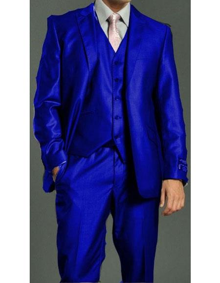 Mens Royal ~ Indigo ~ Bright Blue ~ Cobalt New Blue 2 Button Vested Dress Suits for Men