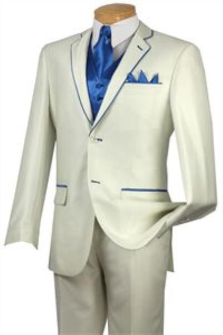 SKU#GJK5 Tuxedo Blue Trim Microfiber Two Button Notch 5-Piece Choice of Solid White or Ivory