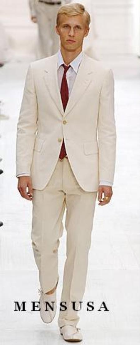 SKU#S81201 Highest Quality Two Button Style Ivory/Cream Suit Cool Lightest Weight Fabric Ivory ~ Off White Mens Suit