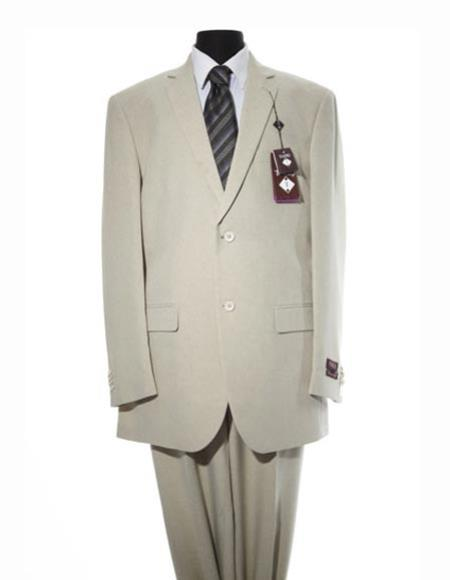 Men's 2 Button Solid Ivory Modern Fit  Suit