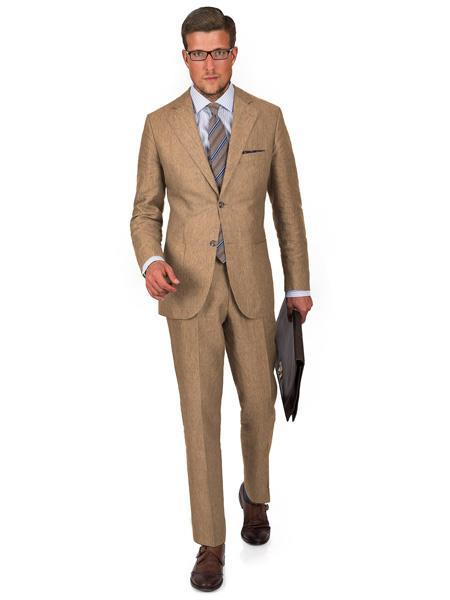 Mens 2 Button Notch Lapel Intense Khaki Linen Suit