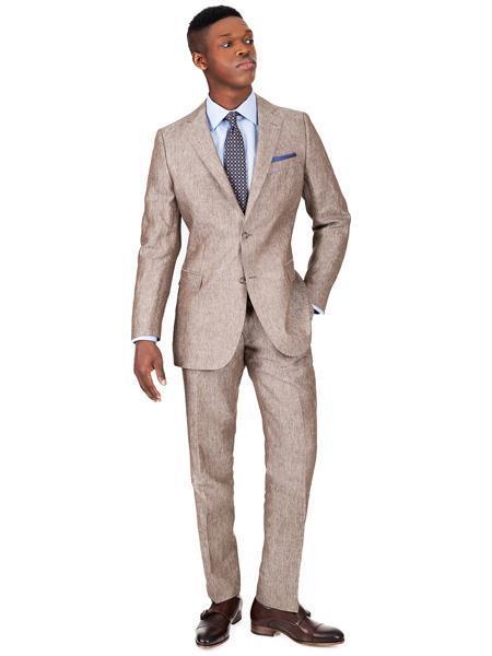 Men's 2 Button Khaki Linen Suit