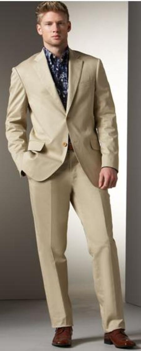 Men's Two Button Cheap Priced Business Suits Clearance Sale - Khaki Stone 2 Button Regular Classic Fit