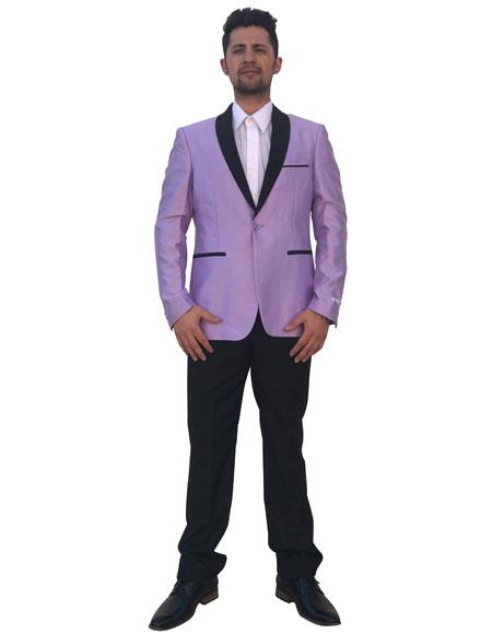 Mens Lavender 2 Button Black Shawl Lapel Cheap Priced Designer Fashion Dress Casual Blazer For Men On Sale Blazer ~ Sport Coat