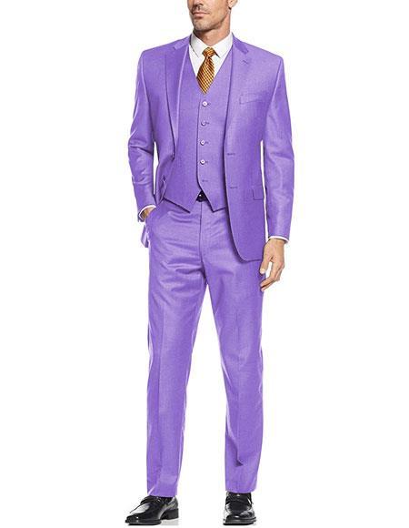 Lavender  ~ Lilac 2 button Vested Suit Flat Front Pants