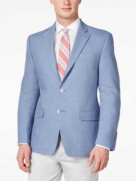 Mens Solid 2 Button Linen Light Blue Classic Fit Sport Coat Blazer