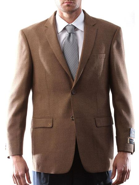 Prontomoda Italia Style Light Brown Mens 2 Button Wool Cashmere Sport Coat