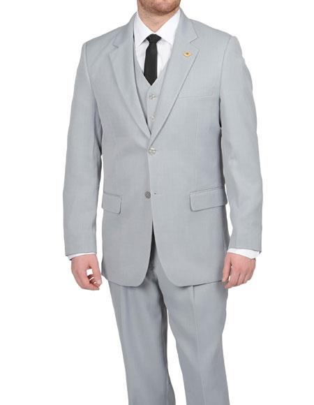 1940s Mens Clothing Stacy Adams Mens Silver Grey  Light Gray 2 Button Vested Suit $175.00 AT vintagedancer.com
