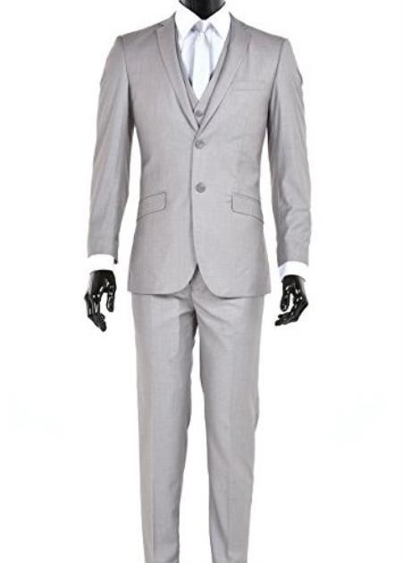 Men's Slim Fit 2 Button Vested Light Gray Suit