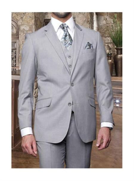 Statement Confidence Mens Light Grey 3 Piece 2 Button Italian Designer Suit