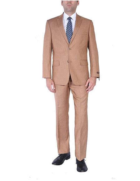 Mens Two-Piece Side Vents 2 Button Light Rust Cheap Priced Business Suits Clearance Sale