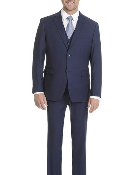 Caravelli Mens Modern Fit Midnight Blue Vested 2 Button Suit