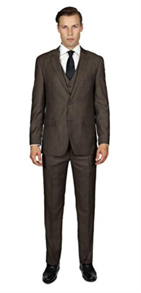 Men's Mocha 2 Button  Three Piece TR Blend Suit Affordable - Discounted Priced On Clearance Sale