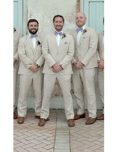 Alberto Nardoni Men's Natural Two Buttons  Suit