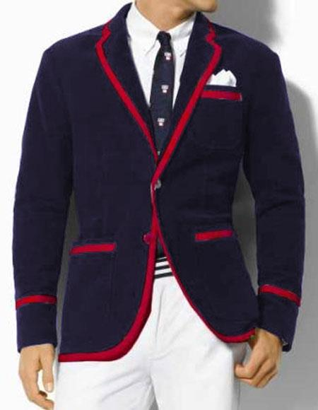 Men's Vintage Style Coats and Jackets Mens Two Toned Classic Velvet Dark Navy Blue Blazer with Red Trimming Tuxedo Formal Looking Sport Coat $390.00 AT vintagedancer.com