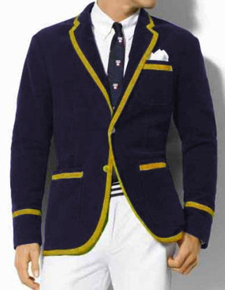 Men's Vintage Style Coats and Jackets Mens Dark Navy Blue Blazer with Gold Trimming Two Toned Classic Velvet Tuxedo Formal Looking Sport Coat $390.00 AT vintagedancer.com