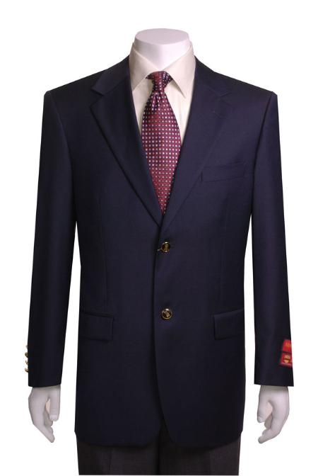 SKU#KJ433 Mens 2-button Navy Blue WoolJacket/Blazer