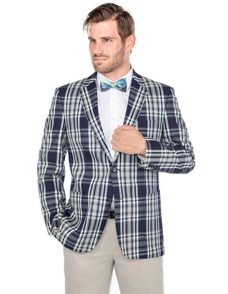 Buy GD1249 Men's Renoi 2 Button Navy Blue~White Plaid Cotton Classic Fit Sport Coat