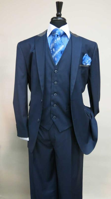 Mens Two Button Single Breasted Suit With Matching Vest Dark Navy Grey