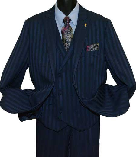 Mens Peak Lapel Dark Navy Blue Suit For Men Single Breasted Striped 2 Button Vested Suit