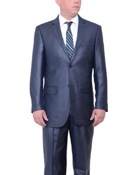 Buy SM1807 Men's Navy Blue Big & Tall Two Button Classic Fit Sharkskin Side Vent Suit