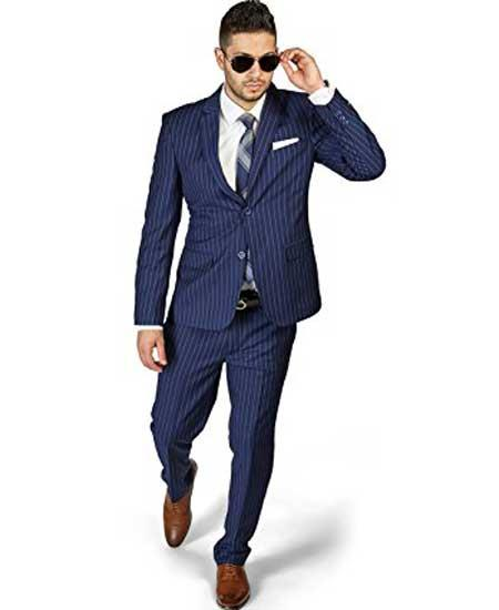 Men's 2 Button Slim Fit Stripe ~ Skinny Style Pinstripe Flat Front Pants Dark Navy Blue Suit For Men Cheap Priced Business Suits Clearance Sale