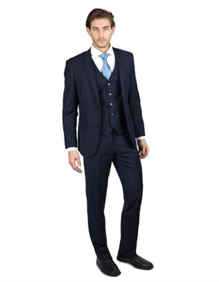 Mens Dark Navy Blue Suit For Men Shark Skin 2 Button Three Piece TR Blend Suit