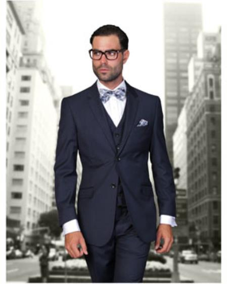 Buy SS-6714 Statement Men's Navy Blue 2 Button Modern Fit Wool Suit