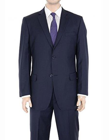 Buy SM2429 Authentic Braveman Men's Regular Fit Notch Lapel Two Button Solid Wool Navy Blue Suit Flat Front Pants