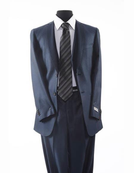 Tazio Brand Suit Mens 2 Button Dark Navy Blue Suit For Men Textured Pattern Suit