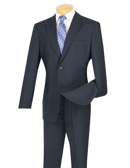 Mens Cheap Priced Dark Navy Blue Suit For Men  2 Button Slim Fit Suit With Flat Front Pant Cheap Suits For Men