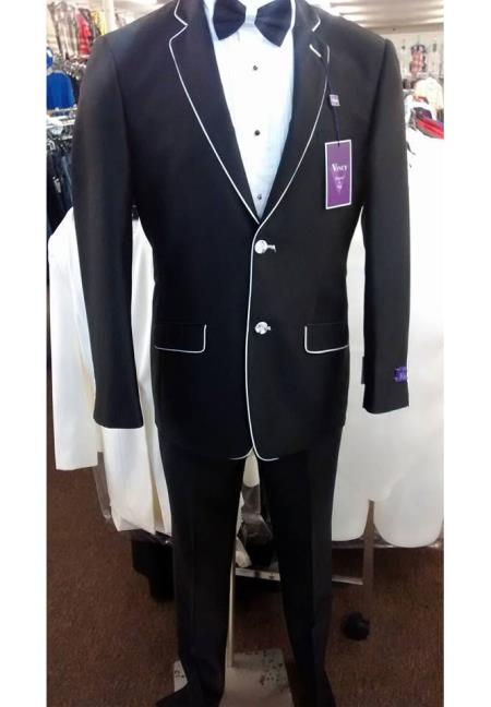 Men's Black And White Trim Lapel Suit