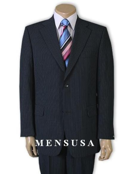 SKU# QP1291 Men's 2 Button Navy Blue Pinstripe Super 120's Wool Business Business ~ Wedding 2 piece Side Vented Suit