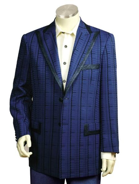 SKU#YE1245 Men's Two Button Suits Navy Blue