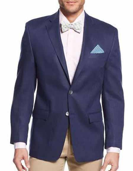 Buy SM1530 Men's Notch Lapel Solid 2 Button Single Breasted Linen Jacket Sportcoat Navy Blazer