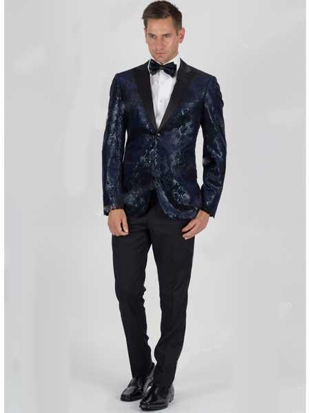 Men's Velvet Snake Skin Slim Fit 2 Button Navy Jacket With Matching Bowtie