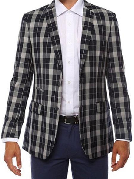 Ferrecci Mens Plaid Slim Fit Dark Navy Blazer Dinner Jacket