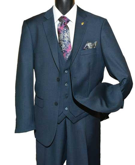 Brand: Falcone Suits Mens Dark Navy Two Button  Vested Suit